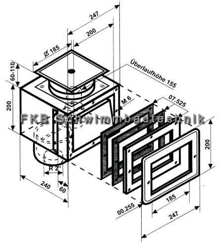 edelstahl skimmer a200 oberfl chenabsauger v4a fkb schwimmbadtechnik. Black Bedroom Furniture Sets. Home Design Ideas