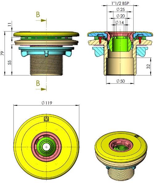 Einlaufd se multiflow f r foliebecken fkb schwimmbadtechnik for Stahlwandbecken einbauen