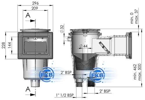 oberfl chenabsauger typ 17 5 f r betonbecken 345 mm fkb. Black Bedroom Furniture Sets. Home Design Ideas