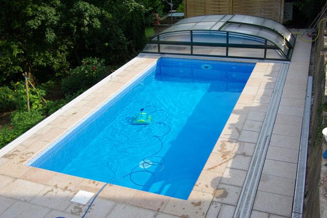 Betonbecken mit fkb supra mosaik schwimmbadfolie for Pool mit schwarzer folie