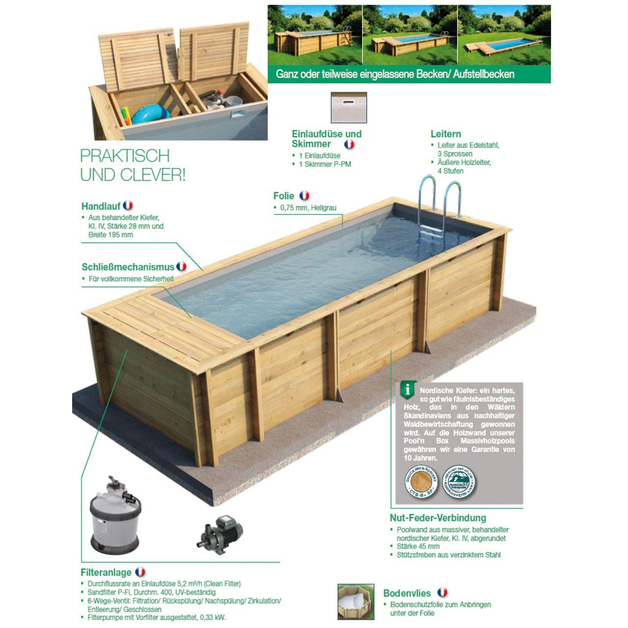 Pool Box Massivholzpool Mit Aufbewahrungsbox Fkb Schwimmbadtechnik