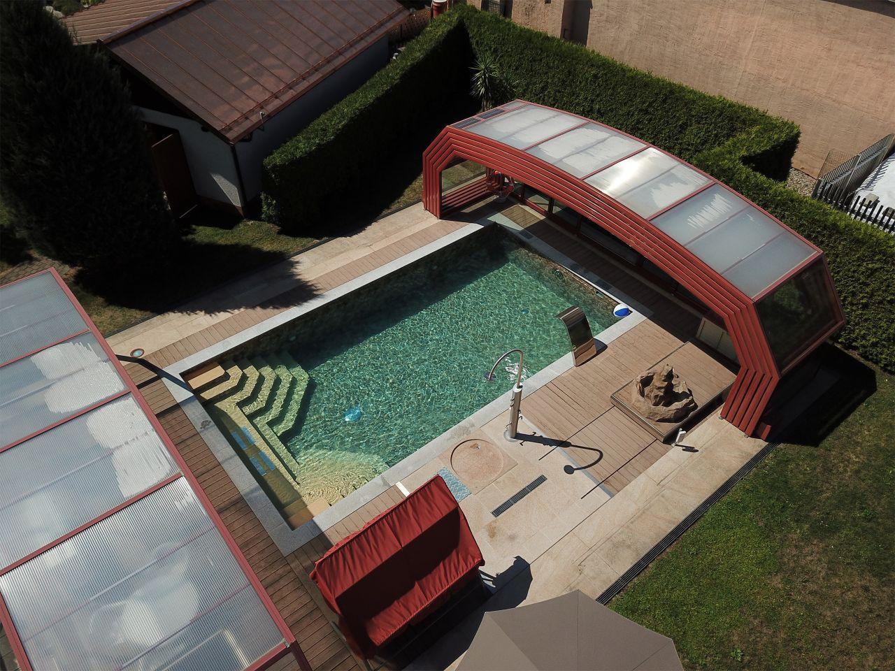 Schwimmbecken 4,5x9x1,50m mit Ecktreppen, Podest und Alkorplan 3D Touch