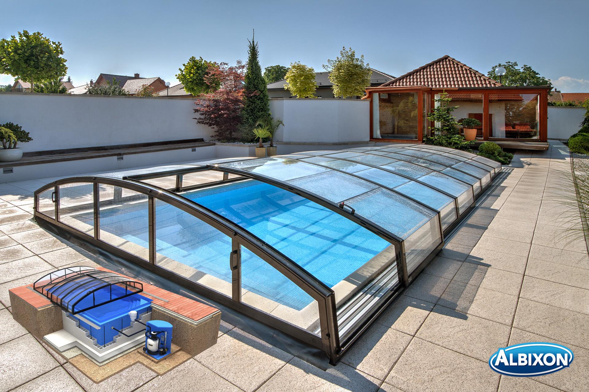 Albixon quattro g2 uno pool komplettset mit berdachung schwimmbecken und technikschacht fkb - Gfk pool komplettset ...